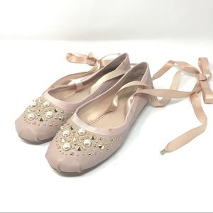 Top Shop Stud Pearl Pink Lace Up Ballet Flats 38.5